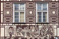 dekorativ tenement för facadehus royaltyfri fotografi