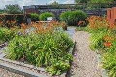 Dekorativ trädgårds- bana som omges av blomningväxter Royaltyfri Fotografi