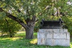 Dekorativ trädgårds- vas i gården av Moskvadelstatsuniversitetet, Ryssland Fotografering för Bildbyråer