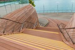 Dekorativ trätrappa nära stranden Fotografering för Bildbyråer