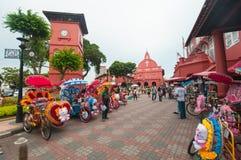 Dekorativ trishaw på den Malacca staden Malaysia royaltyfri foto