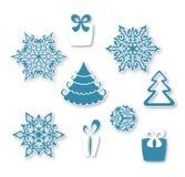 Dekorativ uppsättning av plana julsymboler Royaltyfri Fotografi