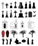 dekorativ uppsättning för 33 objekt för halloween royaltyfri illustrationer