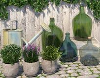Dekorativ utomhus- sammansättning i den Provence stilen Villatic material på den förberedande stenen nära staketet framförande 3d Fotografering för Bildbyråer