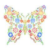 Dekorativ utsmyckad fjäril Arkivbilder