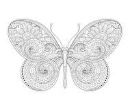 Dekorativ utsmyckad fjäril för vektor royaltyfri illustrationer
