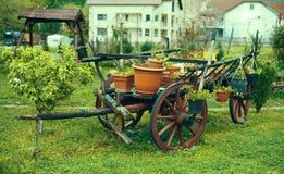 Dekorativ vagn med blommor i gården royaltyfria bilder