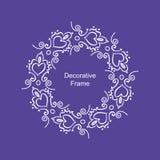 Dekorativ vit ram med hjärtor på purpurfärgad bakgrund Royaltyfri Illustrationer