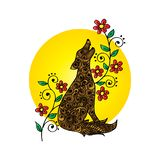 Dekorativ vom wilden Tier des Wolfs lizenzfreie abbildung