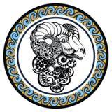 Dekorativ zodiakteckenvädur Arkivbild