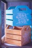 Dekorativa askar, enheter Inre ask boxes färgrikt Arkivbild