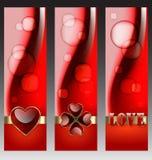 Dekorativa baner för valentin Royaltyfria Bilder