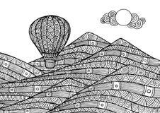 Dekorativa berglandskap med en ballong royaltyfri illustrationer