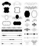 Dekorativa beståndsdelar för blom- design. Vektoruppsättning Royaltyfri Fotografi
