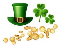 Dekorativa beståndsdelar för dag för St Patrick ` s Arkivfoto