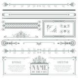 Dekorativa beståndsdelar för vektor för designen av diplomet, annonseringar, kuvert, bröllop och inbjudningar eller hälsningkort Royaltyfri Foto