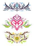 Dekorativa blom- prydnadar Stock Illustrationer
