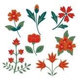 dekorativa blommor eps8 ställde in vektorn Arkivfoton