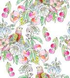 Dekorativa blommor, fågel och äpplen Royaltyfri Foto