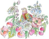 Dekorativa blommor, fåglar och äpplen royaltyfri illustrationer