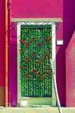 Dekorativa blommor hänger upp gardiner på ingången av ett hus fotografering för bildbyråer