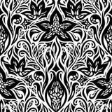 Dekorativa blommor i grafisk design för svart vit blom- dekorativ utsmyckad bakgrundstatuering för design royaltyfri illustrationer