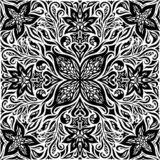Dekorativa blommor i svart & vit, design för mandala för blom- dekorativ utsmyckad bakgrundstatuering grafisk royaltyfri illustrationer