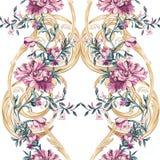 Dekorativa blommor med den sömlösa modellen för barocco Royaltyfria Bilder