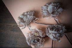 Dekorativa blommor på pastellpapper Royaltyfri Foto