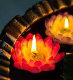 dekorativa burning stearinljus Arkivfoto