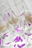 Dekorativa champagneexponeringsglas med purpurfärgade sidor Fotografering för Bildbyråer