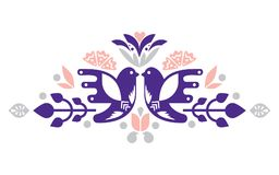 Dekorativa compositional beståndsdelar för fåglar för etiketter, kort, emblem, logoer kanna för konstkeramikfolk royaltyfri illustrationer
