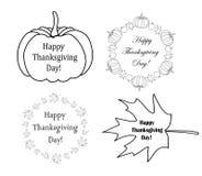 Dekorativa designbeståndsdelar med pumpor för tacksägelsedag stock illustrationer