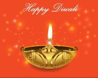 Dekorativa Diwali lampor, lyckligt diwalihälsningkort stock illustrationer