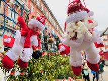 Dekorativa dockor för snögubbear i Plazaborgmästare royaltyfri fotografi