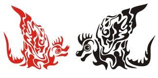 Dekorativa drakar med en vinge i stam- stil vektor illustrationer