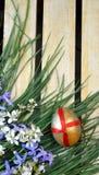 Dekorativa ägg och blommor Arkivbild