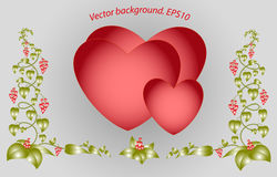 Dekorativa färgrika blom- hjärtor Vektor Eps10 Arkivfoto