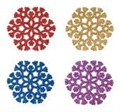 Dekorativa färgrika snowflakes Arkivfoto