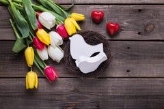 Dekorativa fåglar i rede, ljus vårtulpanflowerst och beträffande Royaltyfria Foton