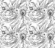 dekorativa fåglar och blommor vektor illustrationer