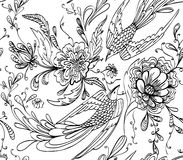 dekorativa fåglar och blommor Royaltyfri Foto