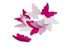 Dekorativa fjärilar på vit bakgrund Arkivfoton