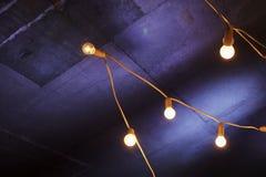 Dekorativa girlandljus Fotografering för Bildbyråer