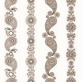Dekorativa gränser för hennamehndi stock illustrationer