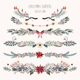 Dekorativa gränser för jul med hand drog blom- filialer Royaltyfri Foto