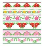 Dekorativa gränser med blommadahlian - sömlösa prydnader för vektor stock illustrationer