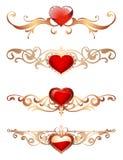 Dekorativa gränser med romantiska röda hjärtor för hjärtor med guld- blom- prydnader snör åt gränser och ramar Royaltyfria Bilder