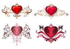 Dekorativa gränser med romantiska röda hjärtor för hjärtor med guld- blom- prydnader snör åt gränser och ramar Härliga kungliga h Royaltyfria Foton