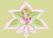 Dekorativa gröna blom- hjärtor illustration för diagram för fyrverkerier eps10 för bakgrund svart Royaltyfri Foto